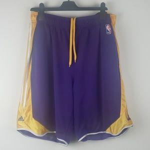 Adidas Lakers shorts yellow purple size XL